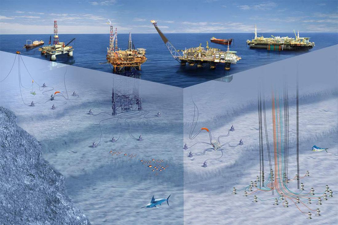 добыча нефти в море схема
